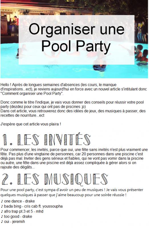 Organiser une Pool Party !