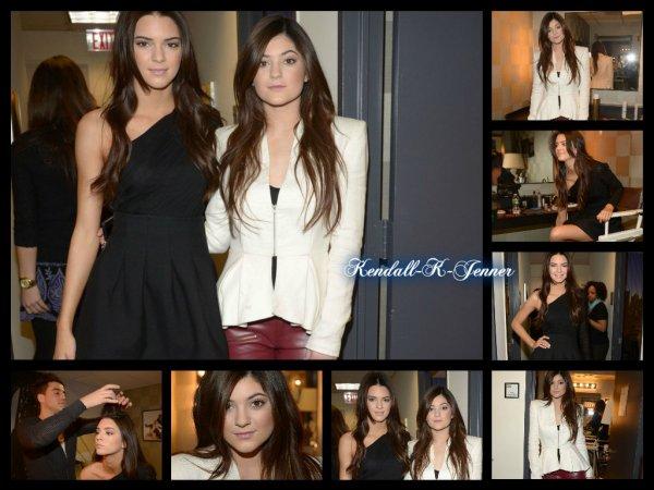 7 février 2013: Kendall et Kylie Jenner se sont faite photographié quelques minutes avant de faire une conférence de presse pour leur ligne de vêtement.