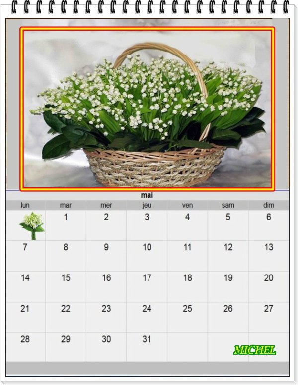 Calendrier du mois de mai - Merci Michel
