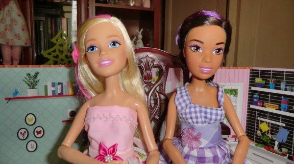 Une Barbie blonde (grand modèle 42 cm, toute articulée) est venue rejoindre ma Barbie brune (Princesse). J'aime le côté articulée de ces poupées