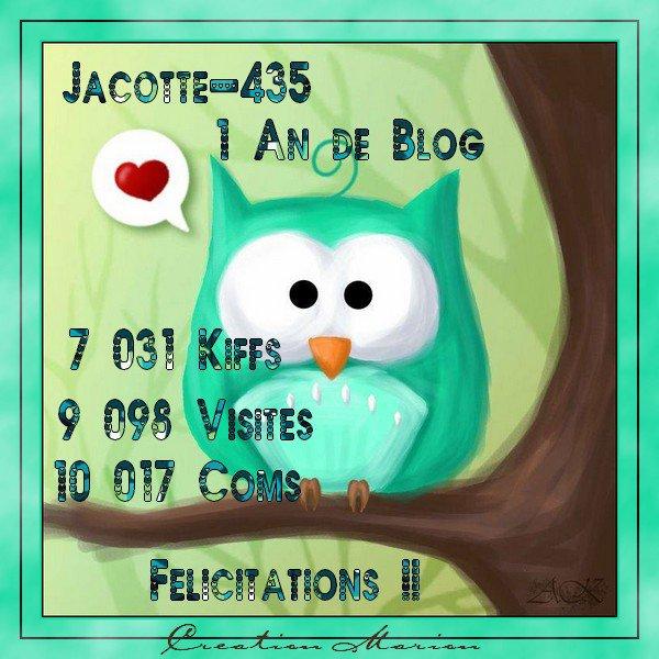 FELICITATIONS A JACOTTE POUR SES UN AN DE BLOG !!