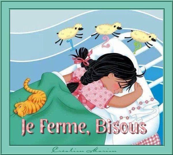 CREATIONS POUR SOUHAITER UNE BONNE NUIT (image partagée par mon amie Danièle) ♥ Prenez si vous aimez...