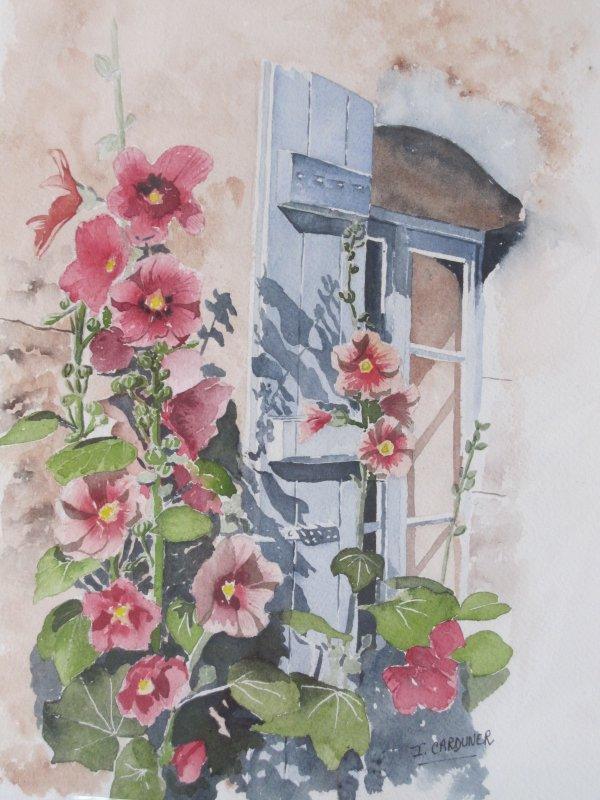 Les roses tr mi res aquarelle mes aquarelles et le reste - Planter des roses tremieres ...
