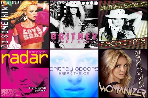 En 15 ans de carrière, et plus de 100 millions de disques à travers le monde, Britney est la huitième artiste féminine ayant vendu le plus de disques aux États-Unis, de Baby One More Time en passant par Toxic jusqu'à Criminal . Ellepossède deux disque de Diamants pour ..Baby One More Time et Oops!...I Did It Again . Elle est  la troisième artiste détenant le plus de disque de diamant à égalité avec Michael Jackson, Madonn ou Whitney Houston .   Qu'elle est ton single favoris de la miss ? Celui que tu aimes le moins ? Donne ton avis ;)