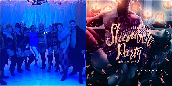 """C'est officiel, Britney a annoncé via l'émission de Mario Lopez que """"Slumber Party"""" serait son deuxième single...Britney a parlé de ses dons pour sa cause, du """"Piece of Me Charity Ride"""", des élections présidentiels aux Etats-Unis, notamment d' Hillary Clinton.. et bien sûr du futur vidéo clip dont elle a commencé le tournage."""