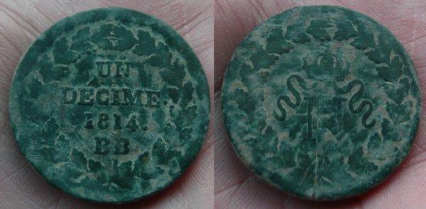 1 DECIME N COURONNE DE 1814 BB NAPOLEON 1 ER