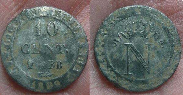 10 cts en billon de 1809 BB napoleon 1 er / 20 cts Ceres de 1850 A