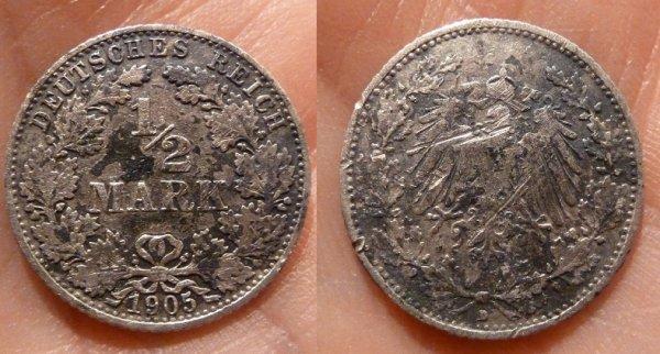 1/2 MARK Allemagne 1905 d