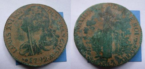 2 sols 1792 AA  LOUIS XVI