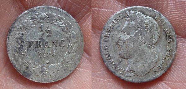 1/2 Franc 1834 Leopold 1 er de Belgique