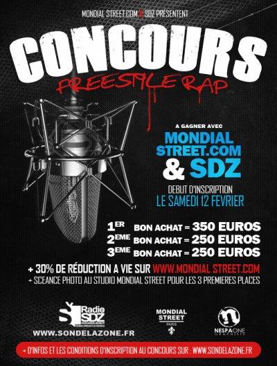 Grand CONCOURS Free Style RAP sur SDZ RADIO sondelazone.fr Sponsoring WWW.MONDIAL-STREET.COM