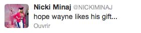 Nicki Minaj et son cadeau pour Lil Wayne