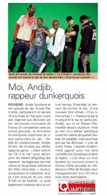 "Moi BONDMAC (Andjib) Dans le magazine ""Dunkerque quartiers"""