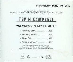 TEVIN CAMPBELL - ALWAYS IN MY HEART (Maxi CD promo) (1993)