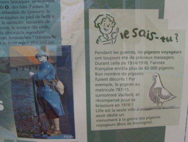 Entrée de BAILLEUL le Conseil Général se souvient du Pigeon messager