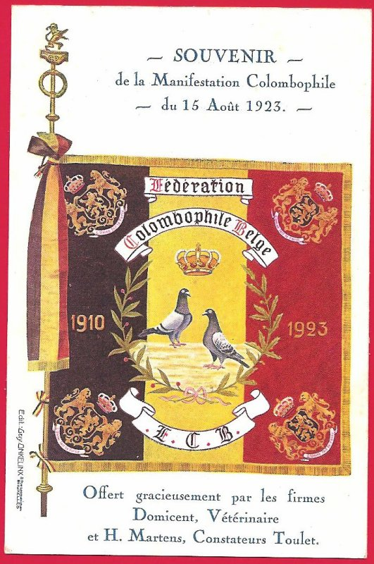 souvenir manifestation colombophile 15 08 1923 en Belgique