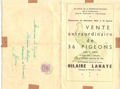 """TRES BON SOUVENIR  """" HILAIRE LAHAYE """" à Ypres Ieper la vente du 12/12/1954 Avocat et au Parlement"""