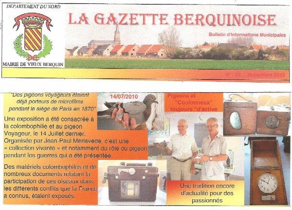 propagande colombophile 59  VIEUX BERQUIN du 14 juillet 2010 pigeons et constateurs