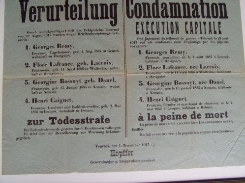 fusilles en 1917 pour espionnage par pigeons voyageurs GENECH OUVIGNIES LESQUIN NOMAIN