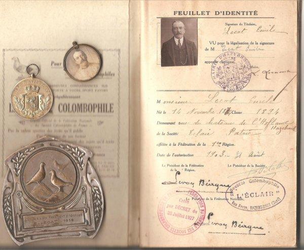 1903 Emile LECAT d' Hazebrouck - souvenirs colombophiles