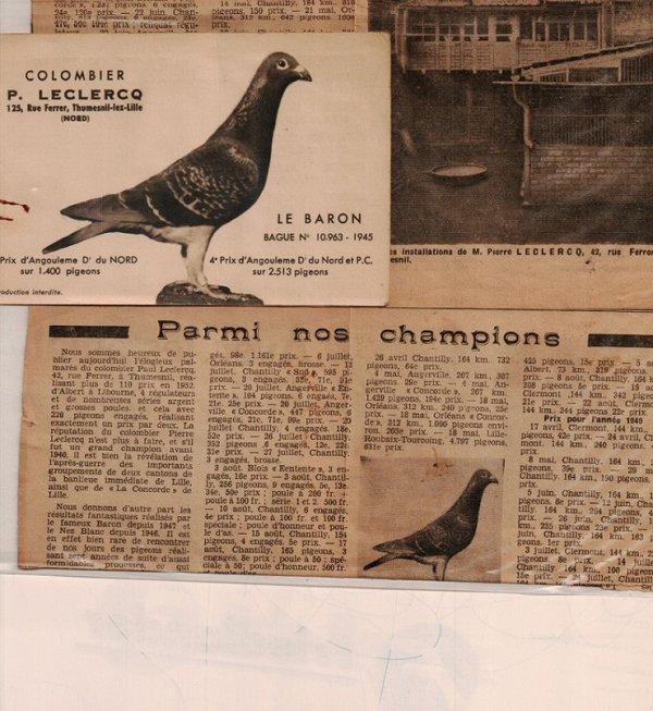 colombier Paul LECLERCQ de Thumesnil lez Lille 1945
