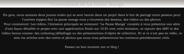 Présentation de La Pause Manga