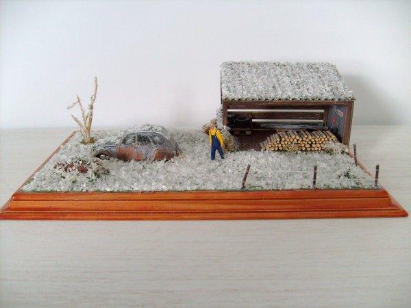 citroen 2cv abandonn e sous la neige blog de passion dioramas. Black Bedroom Furniture Sets. Home Design Ideas