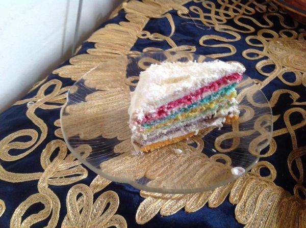 Miam miam..... Un Rainbow Cake! , ce qui veulent plus d'information au sujet du gâteaux demandez moi je vous répondrez avec plaisir... !