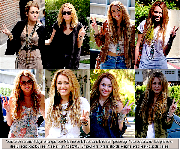 miley's 2010 peace sings :)