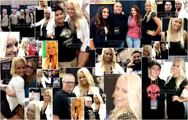 _♦ 26-28 SEPTEMBRE 2014 - ALOMO CITY COMIC CON ___________________________________________________CANDID CONVENTION Maryse était Alamo City Comic Con qui se déroulé au Texas retrouver tous plains de photos ci-dessous. Convention au qu'elle Maryse participe énormément. Dans cette convention les deux hall of fame juste des légende Lita et Trish Stratus était au coter de Maryse.