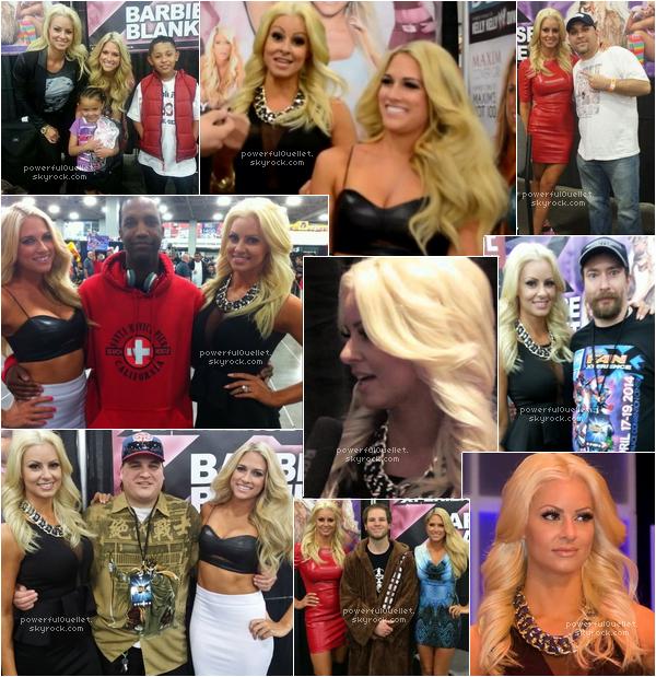 _♦ 4 AVRIL 2014 - SALT LAKE CITY COMIC CON ______________________________________________________CANDID CONVENTION Maryse été au  Salt Lake City Comic Con pendant trois jours, il y avais aussi l'ancienne divas de la WWE Kelly-Kelly maintenant connue sous sont vrais nom Barbara Blank. Maryse et Barbara depuis 2 ans un peu près participe souvent toutes les deux à des conventions ensemble.