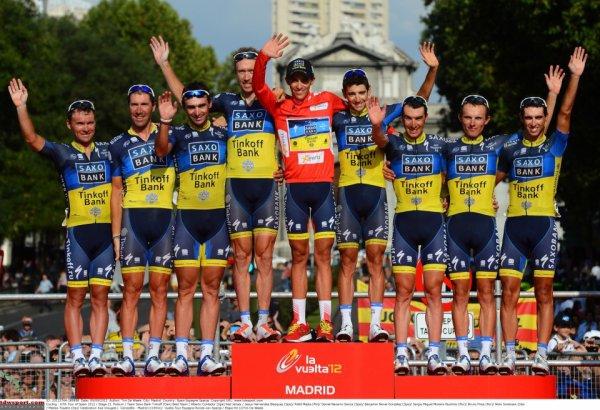 Tour d'Espagne 2012 : Le podium de l'équipe Saxo Bank...