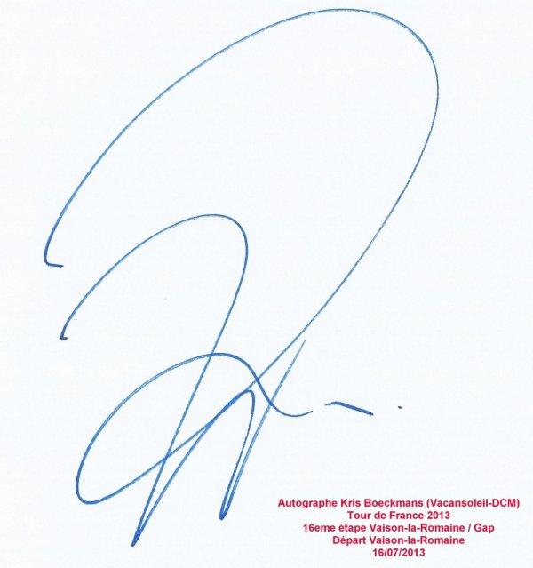 Tour de France 2013 : Autographe Kris Boeckmans (Vacansoleil-DCM)