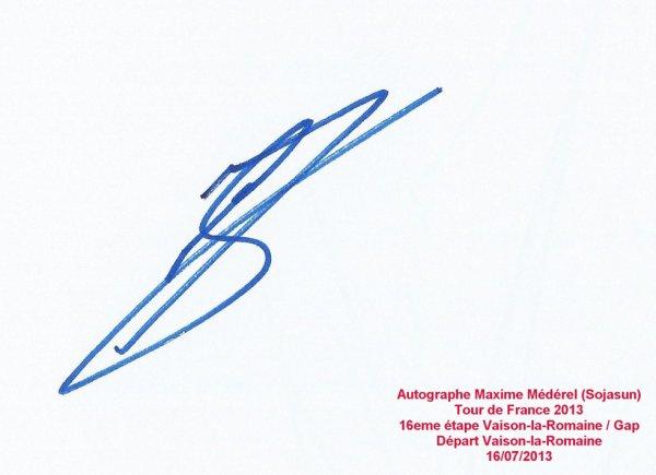 Tour de France 2013 : Autographe Maxime Médérel (Sojasun)