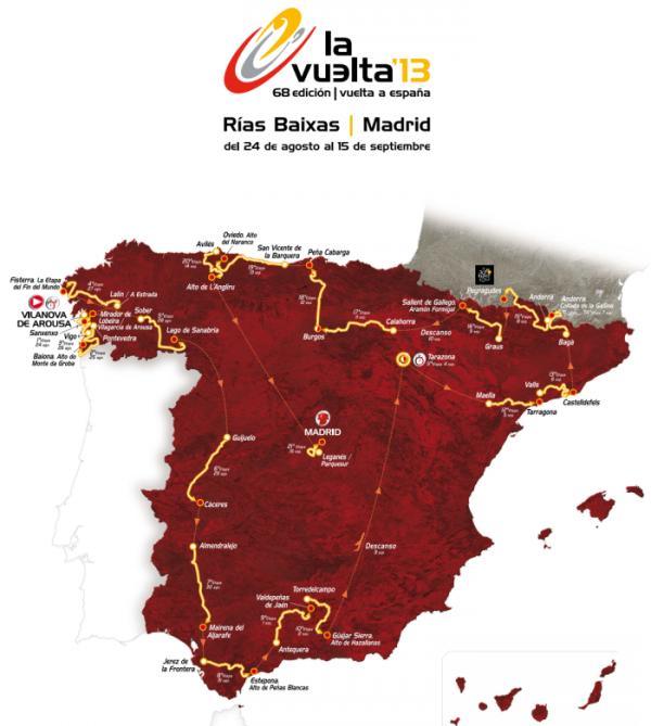 Parcours Tour d'Espagne 2013