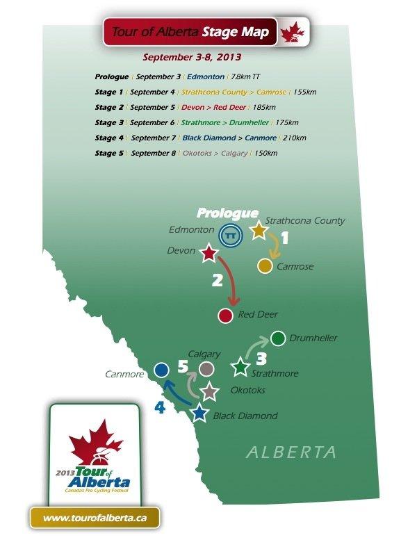 Parcours Tour d'Alberta 2013