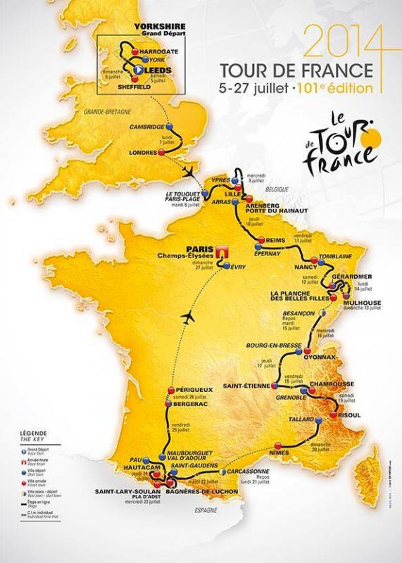 La carte du Tour de France 2014 dévoilée ce midi...