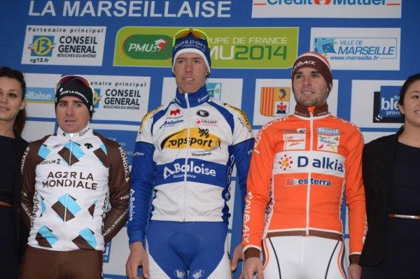 Podium Grand Prix La Marseillaise 2014 : Kenneth Vanbilsen (1er), Baptiste Planckaert (2e), Samuel Dumoulin (3e)