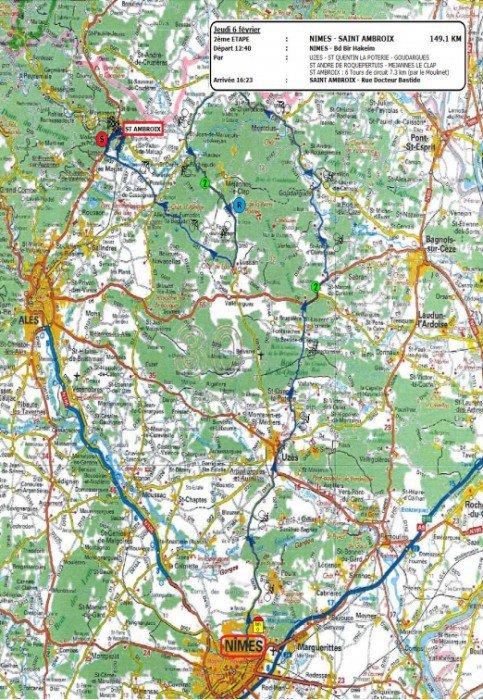 Etoile de Bessèges 2014 (2eme étape Nîmes / Saint-Ambroix) : le parcours
