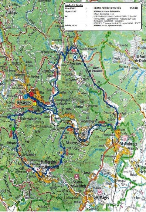 Etoile de Bessèges 2014 : Parcours 3eme étape Bessèges / Bessèges
