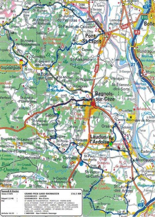 Etoile de Bessèges 2014 : Parcours 4eme étape Goudargues / Laudun