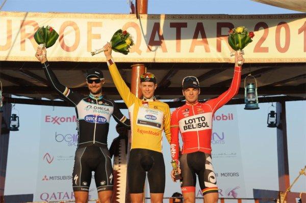Tour du Qatar 2014 (Podium) : Niki Terpstra (1er), Tom Boonen (2eme), Jurgen Roelandts (3eme)