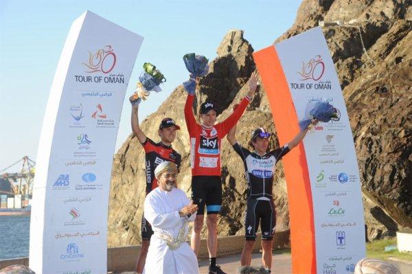 Podium Tour d'Oman 2014 : Christopher Froome (Vainqueur), Tejay Van Garderen (2eme), Rigoberto Uran (3eme)