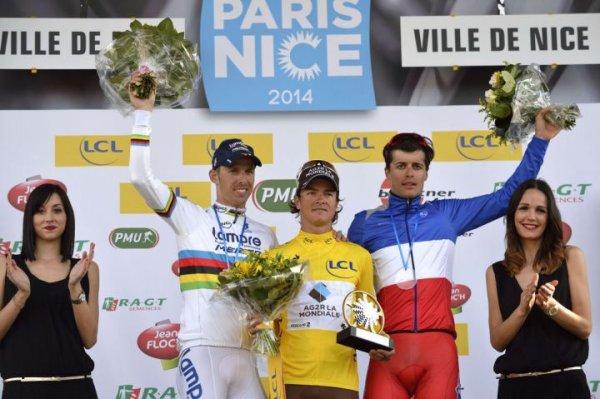 Podium Paris-Nice 2014 : victoire de Carlos Betancur (AG2R) devant Rui Costa (Lampre) et Arthur Vichot (FDJ.Fr)