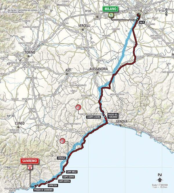 Parcours Milan-San Remo 2014