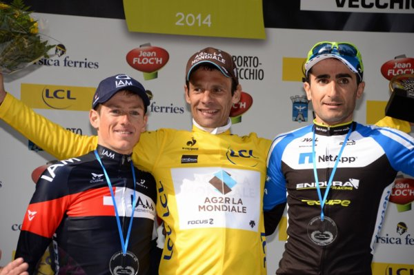 Podium Critérium International 2014 : Jean-Christophe Peraud (1er), Mathias Frank (2eme), Tiago Machado (3eme)