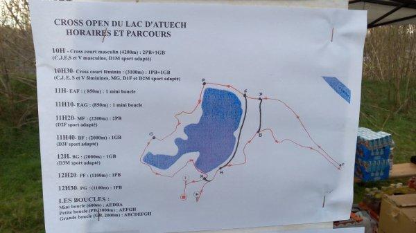 Parcours Cross open du lac d'Atuech (30), parcours cross masculin avec 2 boucles de 1 km autour du lac et une grande boucle de 4,2 km