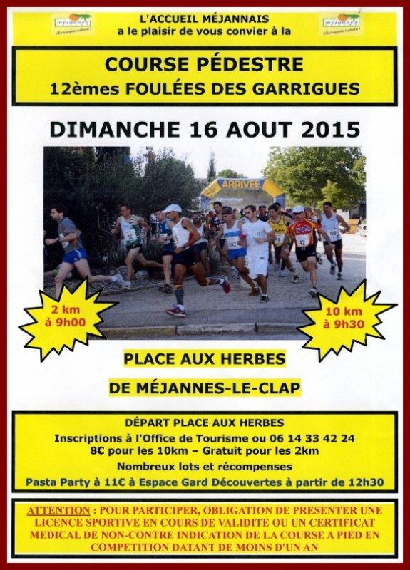 Flyer Foulées des Garrigues 2015 - Méjannes-le-Clap (30)