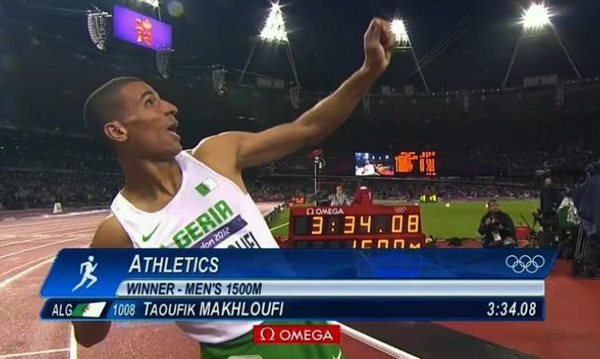 Congratulations to Algeria! Gold medal in Men's 1500m. Well done Toufik Makhloufi