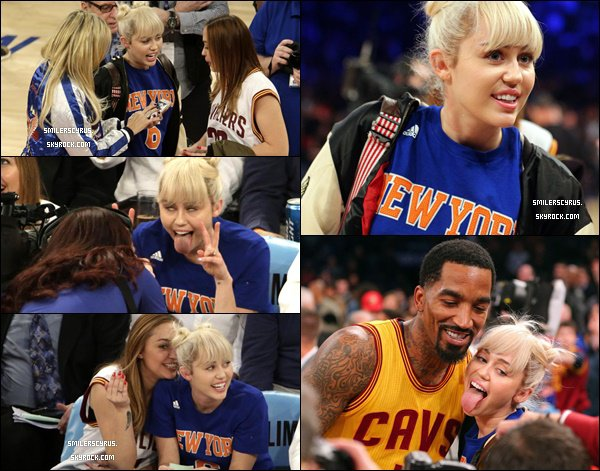 Ce 26 mars Miley ainsi que sa soeur Brandi et sa maman Tish étaient sur Madison Square Garden à New York pour assister au match de basket Knicks VS Cavaliers.